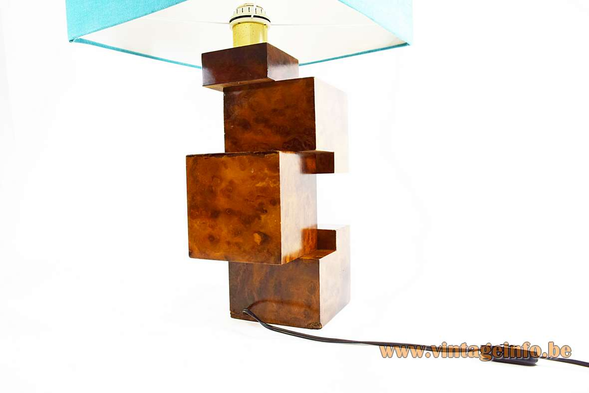 Burl walnut cityscape table lamp geometric wood cubes base square light blue fabric lampshade 1960s 1970s Italy