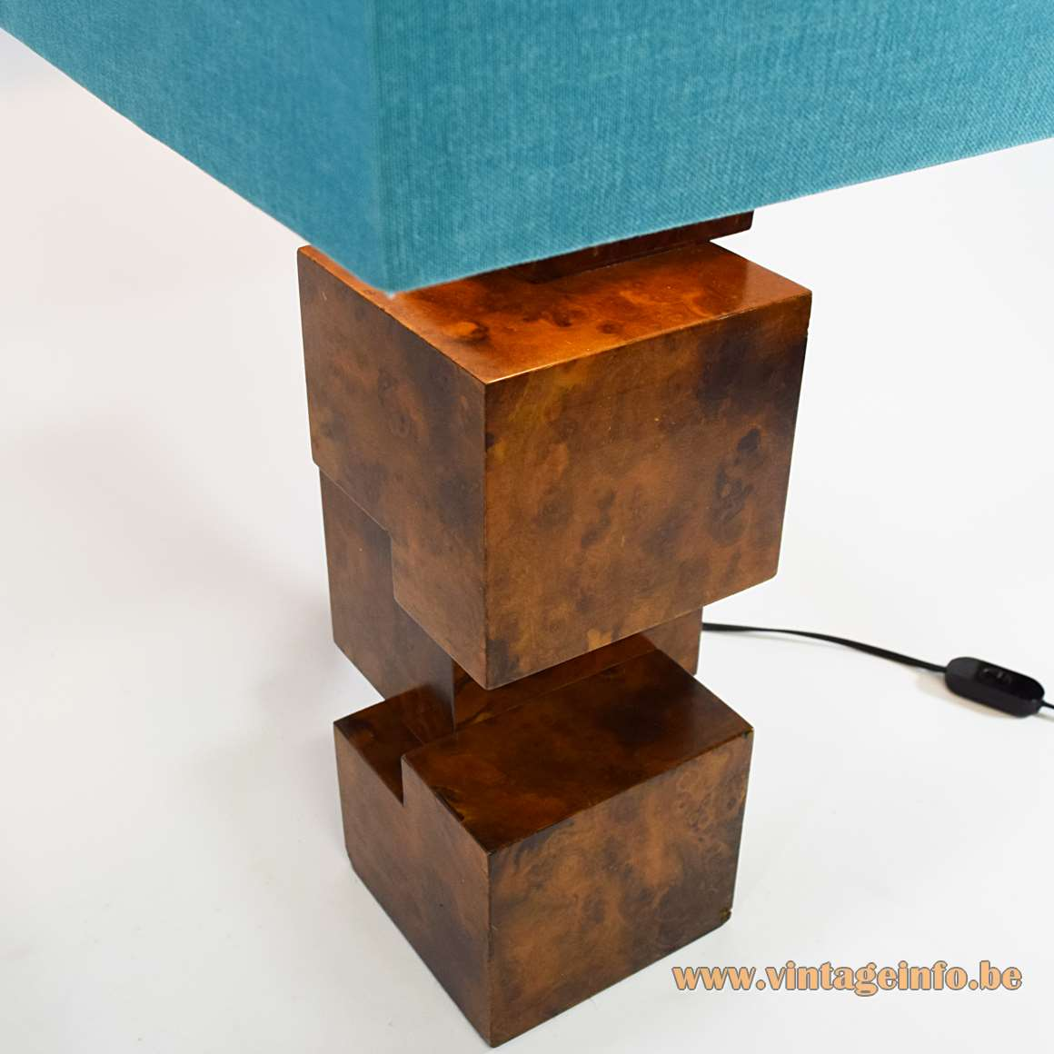Burr Walnut Cityscape table lamp wood cubes geometric square lampshade 1960s 1970s MCM Italy