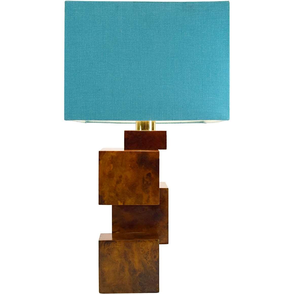 Burr Walnut Cityscape Table Lamp