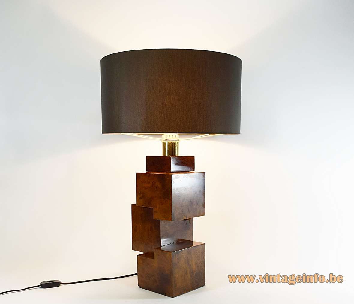 Burr Walnut Cityscape table lamp burl wood cubes geometric square lampshade 1960s 1970s MCM Italy