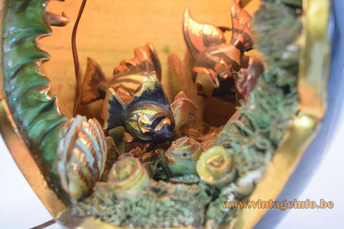 Cermonac Monaco table lamp tourist kitsch souvenir ceramic pot with starfish shellfish 1950s 1960s France