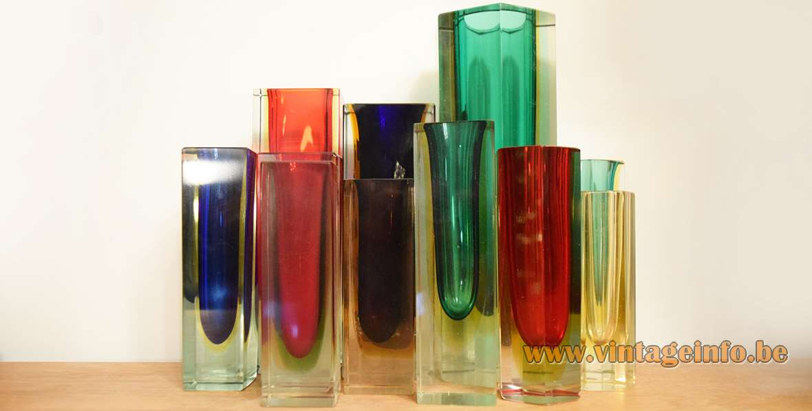 Collection of sommerso glass vases Flavio Poli style Murano Venice Italy 1950s 1960s MCM Mid-Century Modern