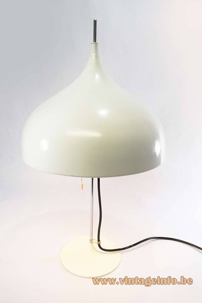 DORIA mushroom table lamp 1960s design: Klaus Slama aluminium lampshade chrome rod white base 1970s vintage