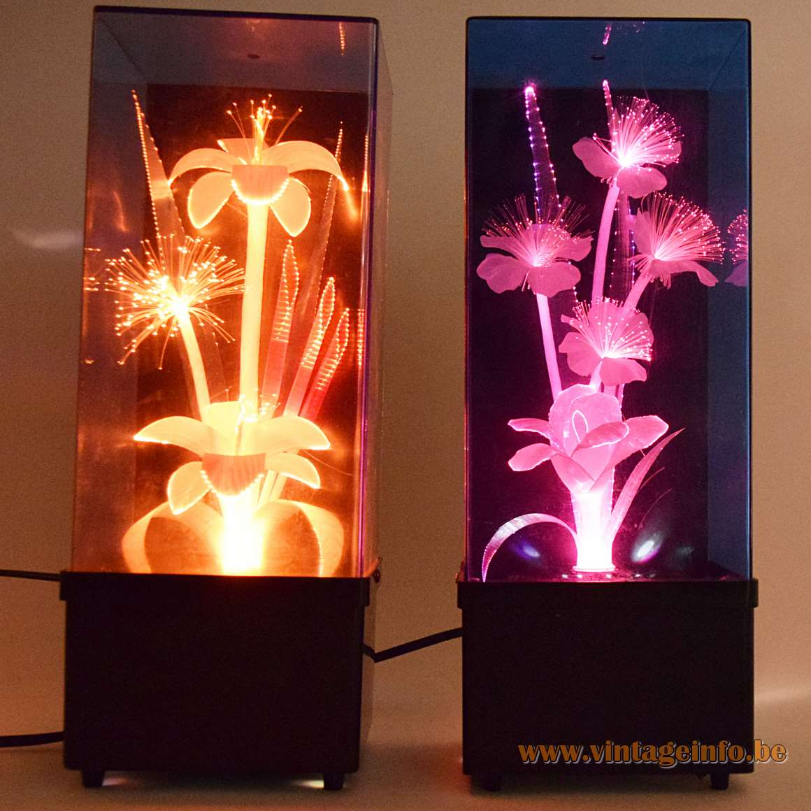 Fiberglass Flower Kitsch Table Lamps square black plastic base changing colours 1970s 1980s Taiwan Massive