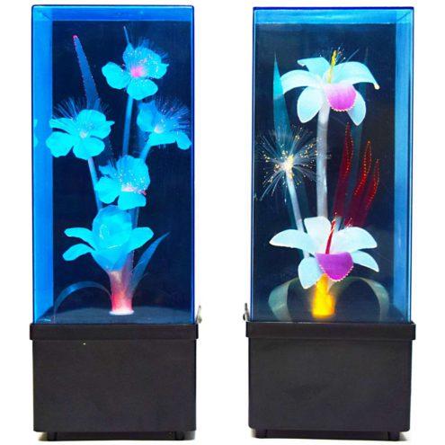 Fiberglass Flower Kitsch Table Lamps square black plastic base changing colours 1970s 1980s Taiwan Massive