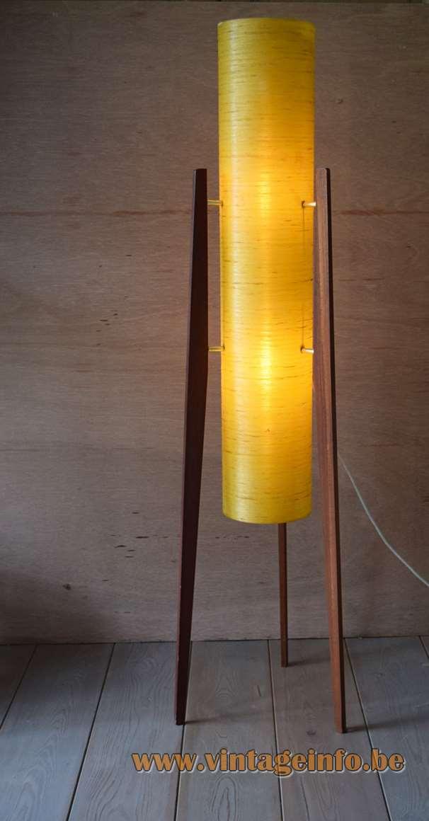 Fibreglass rocket floor lamp tripod teak legs orange-yellow tubular lampshade 1950s 1960s Novoplast Czech Republic