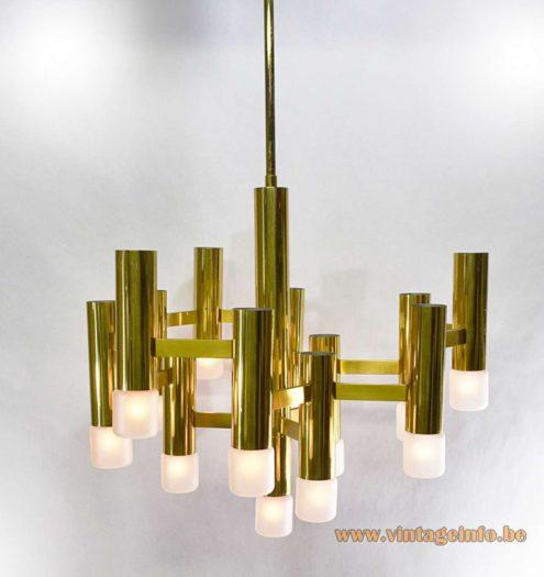 Gaetano Sciolari brass chandelier made of brass tubes & rods and Neolamp bulbs Boulanger 1960s 1970s