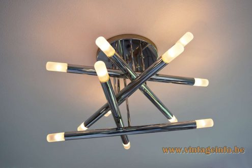 Gaetano Sciolari Chrome Tubes Flush Mount - 12 light bulbs