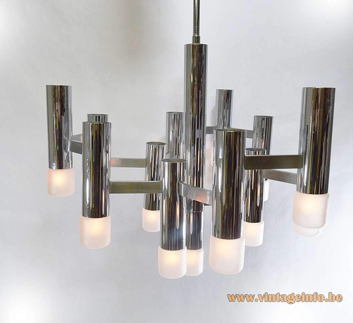 Gaetano Sciolari Chrome Tubular Chandelier