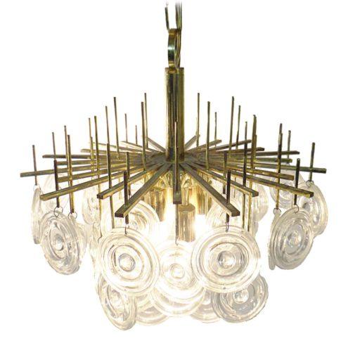Gaetano Sciolari lens chandelier massive brass rods 42 glass discs Oscar Torlasco MCM 1960s 1970s