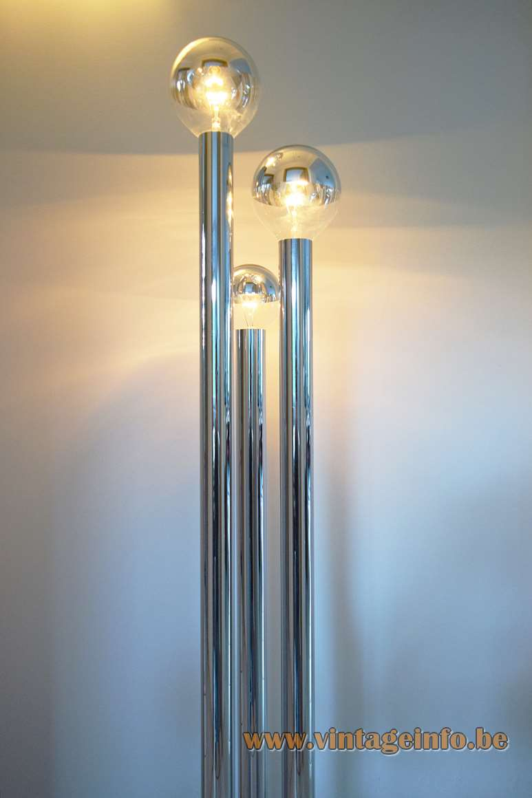 Chrome tubes floor lamp design: Gaetano Sciolari 3 E27 globe bulbs 3 thick chrome pipes & base