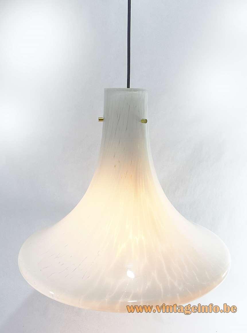 Trumpet pendant lamp Glashütte Limburg 1970s white flakes glass brass parts bell Germany MCM Mid-Century Modern