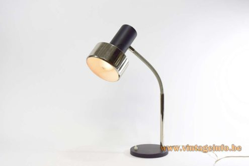 1960s, 1970s gooseneck desk lamp, round base, chrome gooseneck, black, Massive, Belgium, MCM