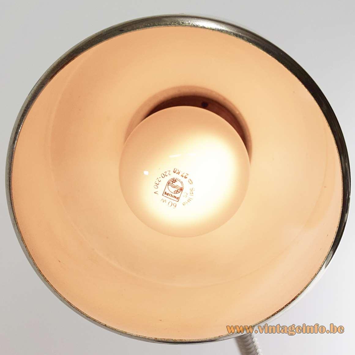 1960s, 1970s gooseneck desk lamp, round base, chrome gooseneck, beige, Massive, Belgium, MCM
