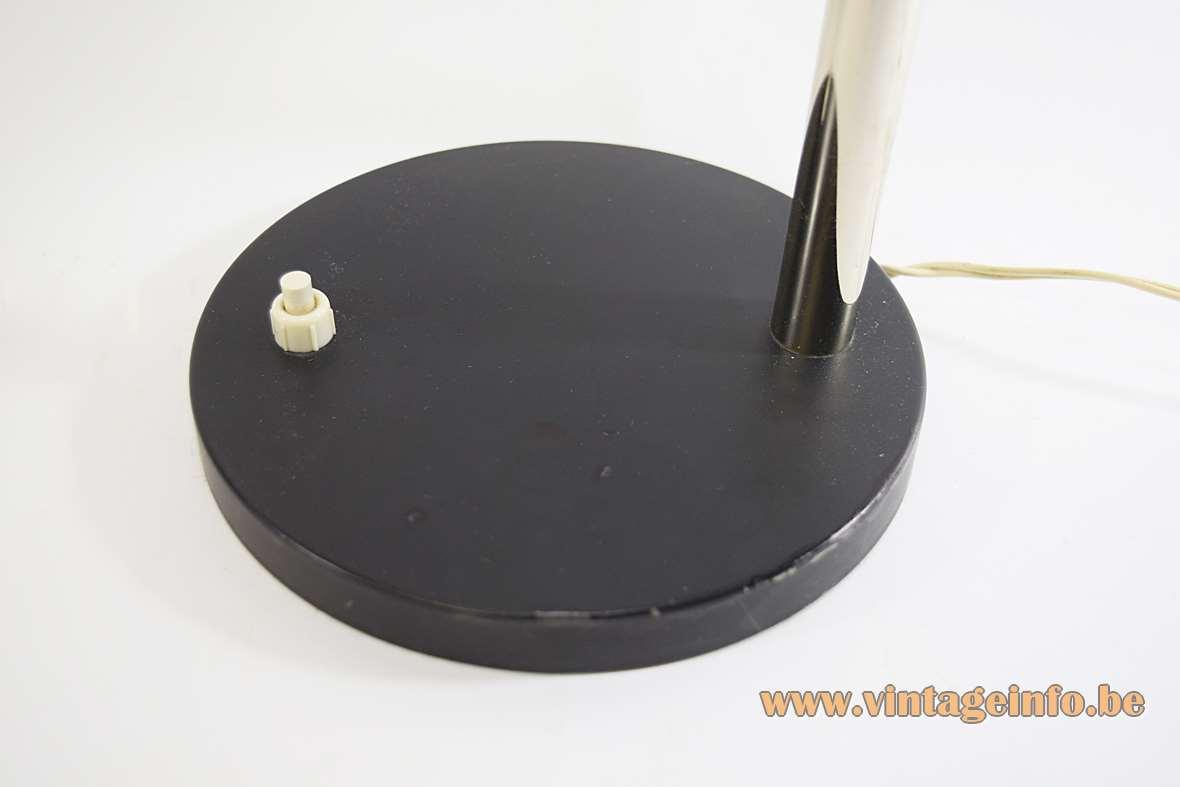 Black 1960s gooseneck desk lamp round flat base built-in switch chrome rod Massive Belgium 1970s