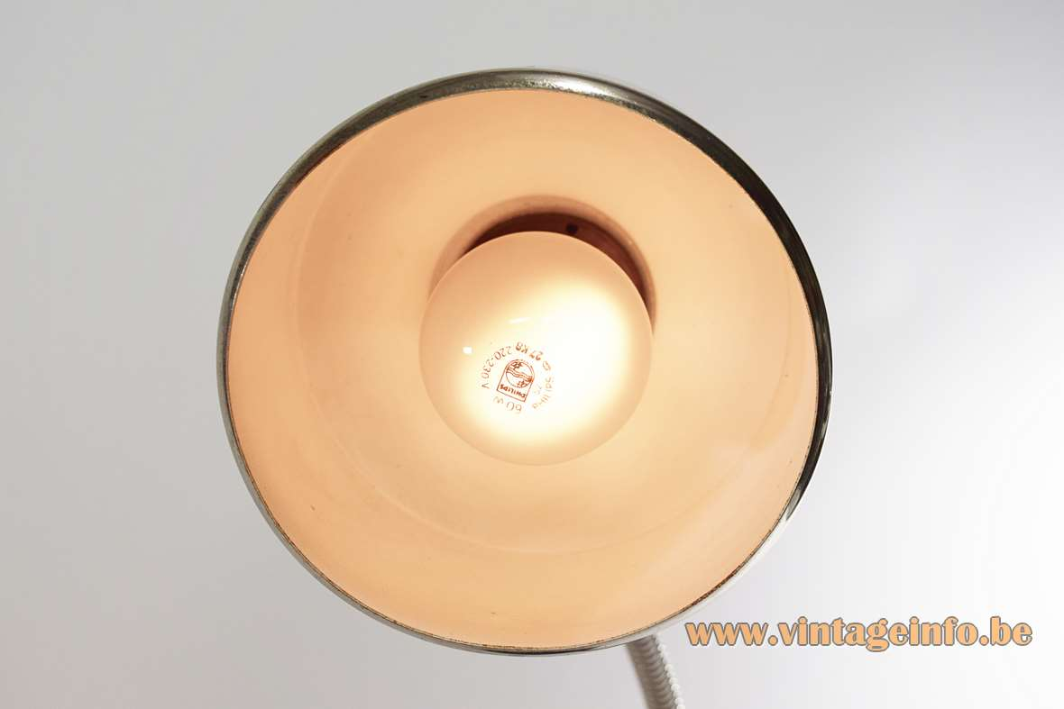 Black 1960s gooseneck desk lamp round chrome lampshade white inside E27 socket Massive Belgium 1970s