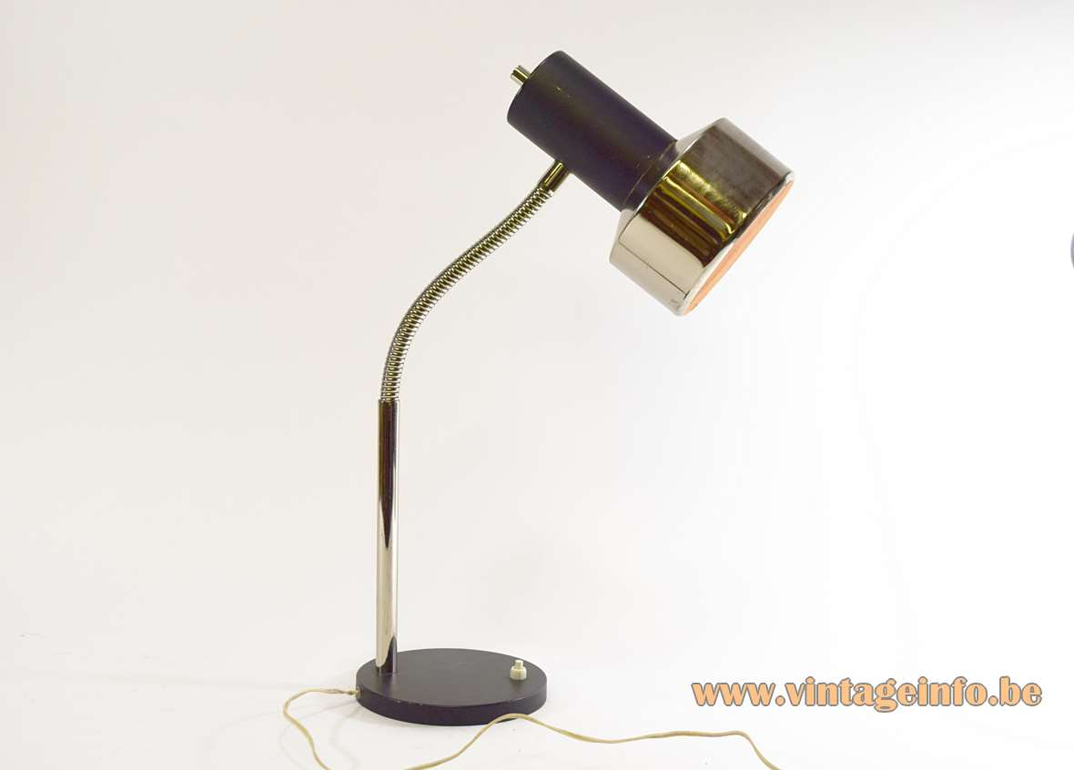Black 1960s gooseneck desk lamp round base chrome rod & lampshade E27 socket Massive Belgium 1970s