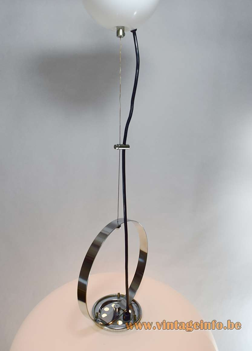Harvey Guzzini pendant lamp Alvise white acrylic chrome ring design: Luigi Massoni 1960s 1970s iGuzzini Meblo MCM Mid-Century Modern vintage