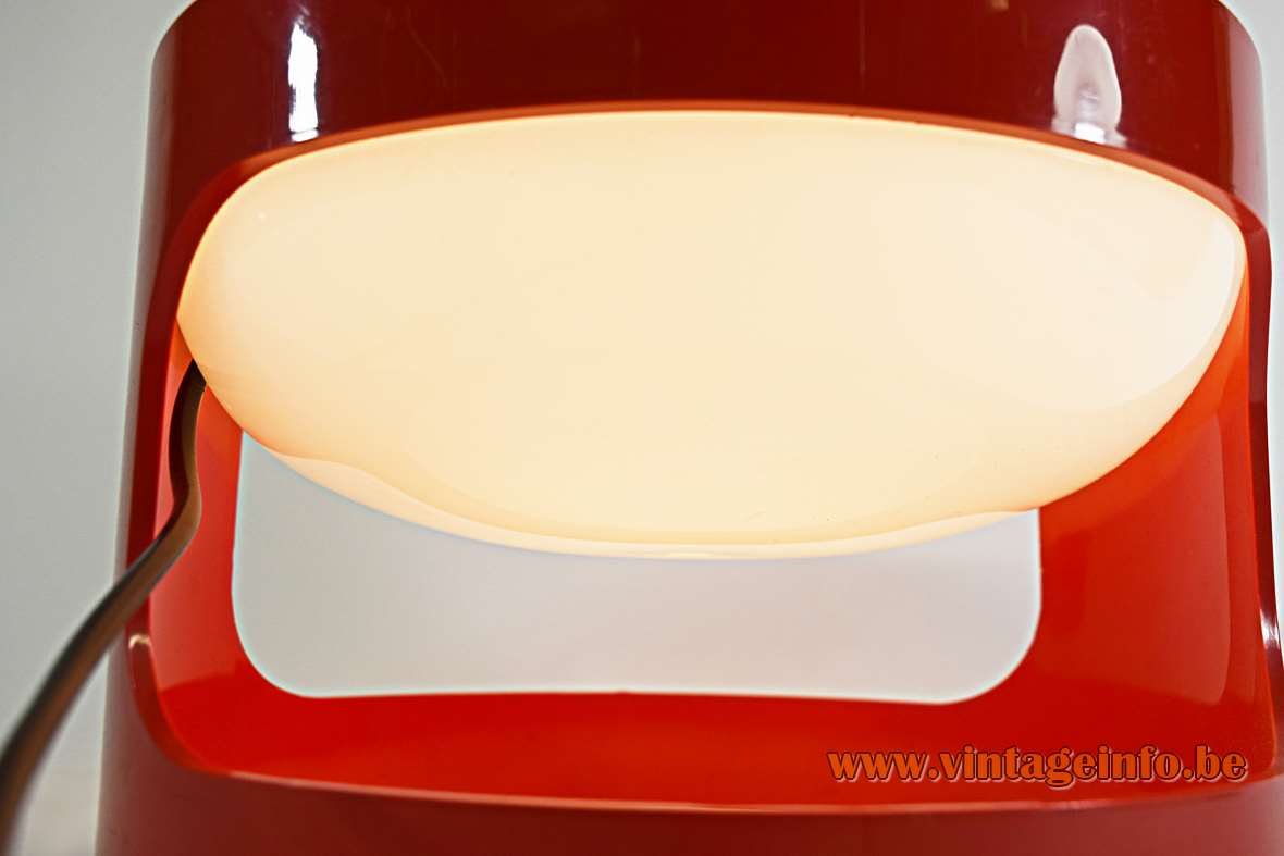 Joe Colombo KD 27 Kartell table lamp red plastic base white oval globe lampshade 1960s 1970s