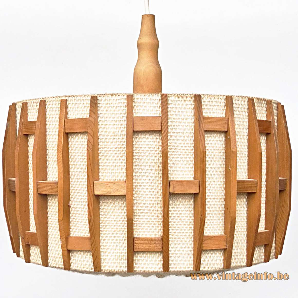 Jute and Teak Pendant Lamp round lampshade white wood windows 1960s Massive Belgium MCM