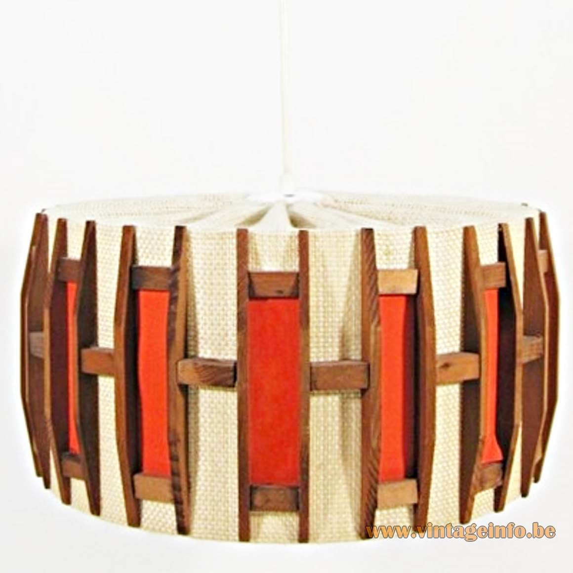 Jute and Teak Pendant Lamp round lampshade orange wood windows 1960s Massive Belgium MCM