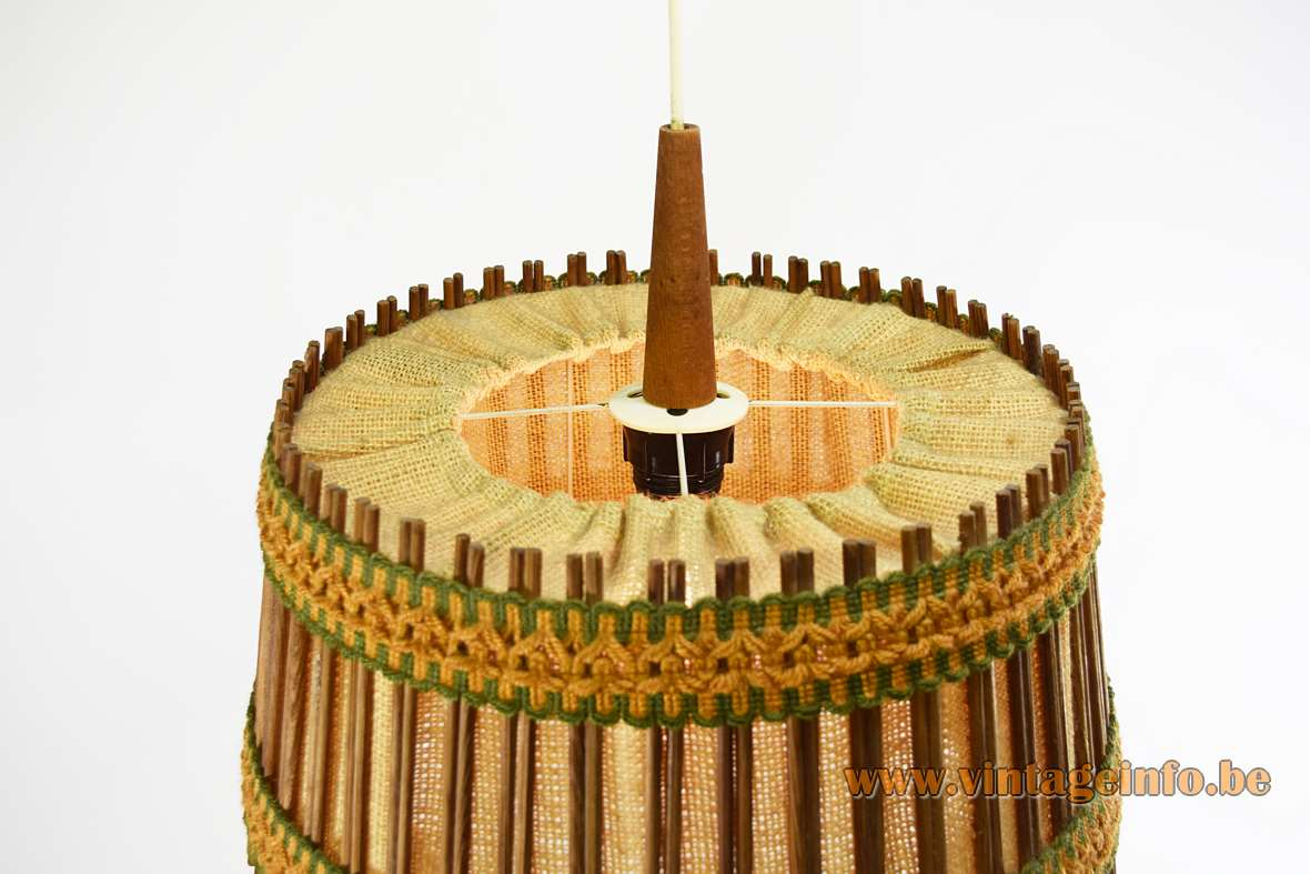 Jute and teak pendant lamp round fabric & wood lampshade orange-green ribbons 1960s Massive Belgium