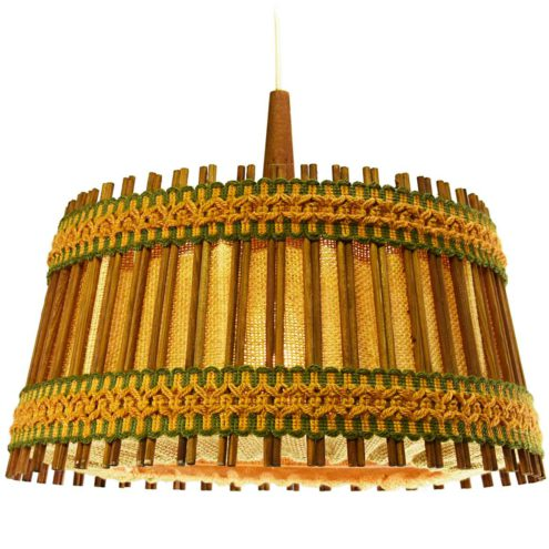 Jute and teak pendant lamp round lampshade with orange-green ribbon fabric and wood 1960s Massive Belgium