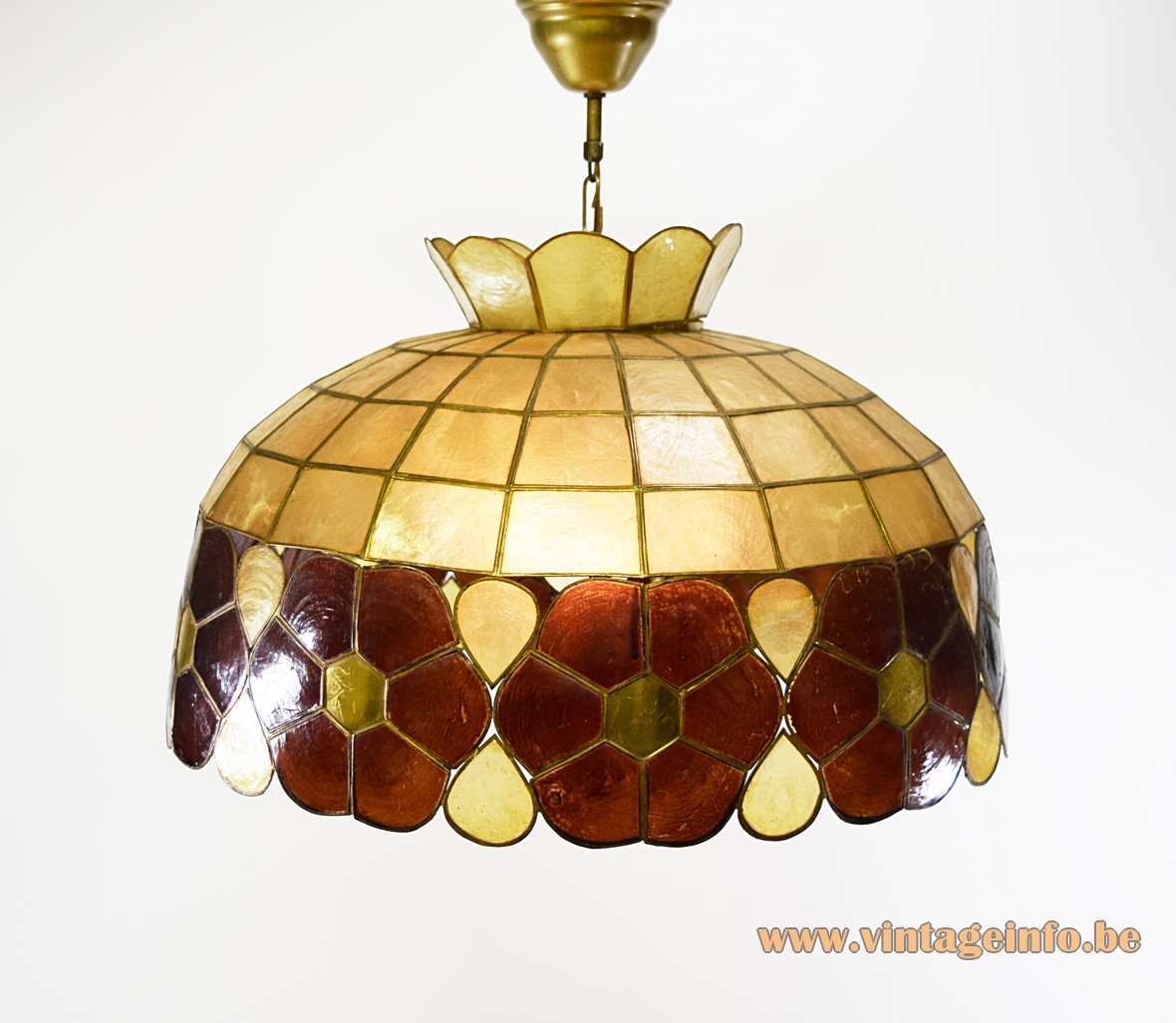 Large Capiz chandelier made of shells windowpane oyster brass soldered mother of pearl pendant lamp 1960s