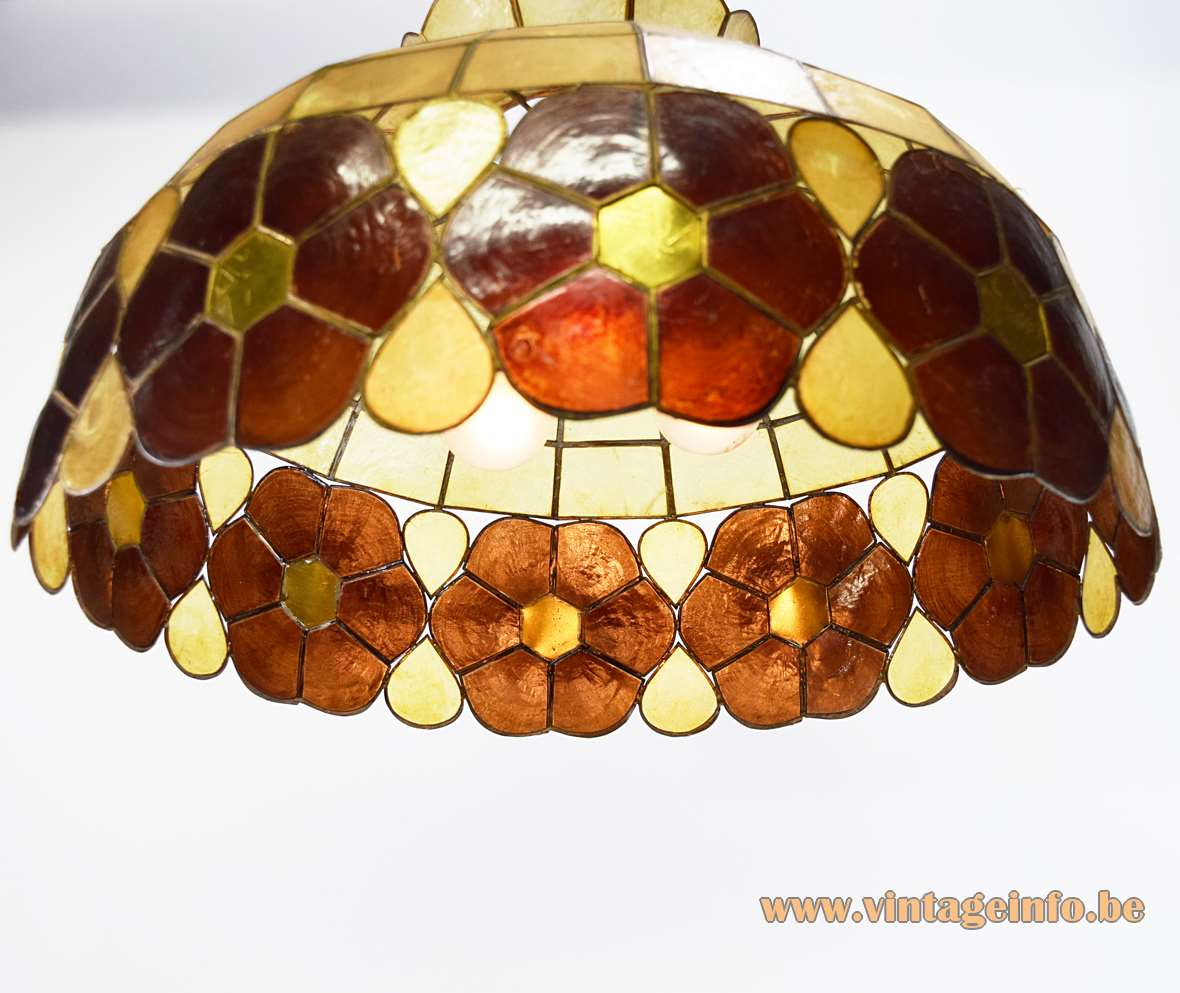 Large Capiz Chandelier placuna placenta shells windowpane oyster 1970s brass soldered frame pendant lamp MCM