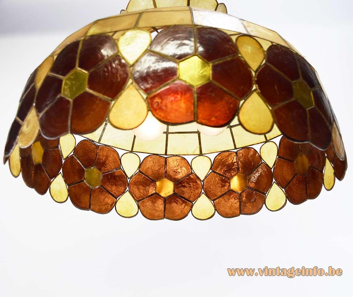 Large Capiz Chandelier placuna placenta shells windowpane oyster 1970s brass soldered frame pendant lamp MCM