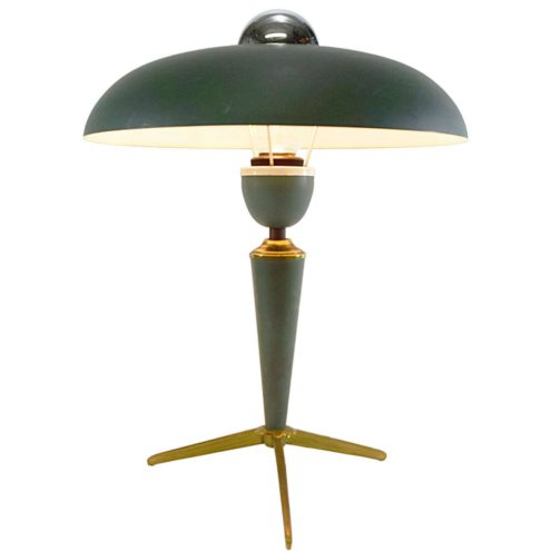 Louis Kalff Bijou table lamp tripod brass base green mushroom lampshade E27 socket Philips 1950s