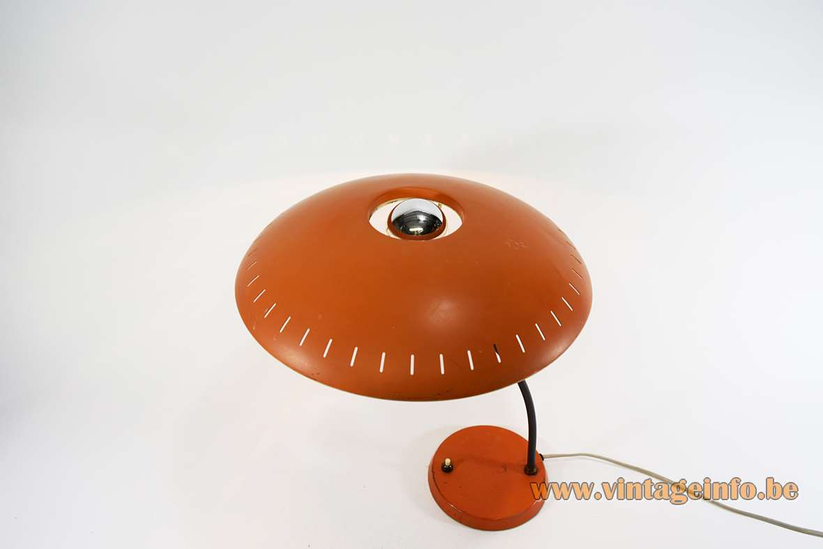 Louis Kalff Junior Desk Lamp Philips aluminium perforated lampshade curved brass rod 1950s 1960s E27 UFO