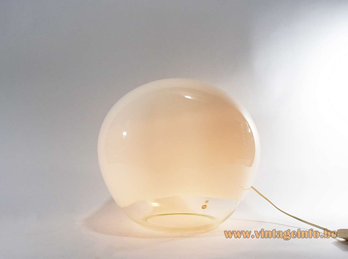 Luciano Vistosi Nessa Table Lamp, designed 1972, opaque clear hand blown crystal Murano glass, Italy, biography