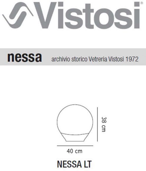 Luciano Vistosi Nessa Table Lamp - Dimensions Archive Vistosi 1972