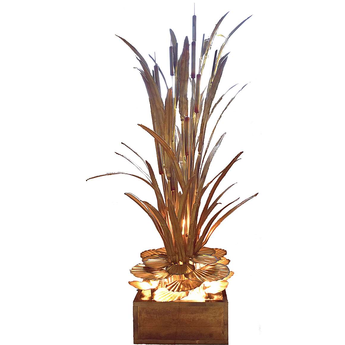 Maison Jansen Cattail and Water Lilies Floor Lamp