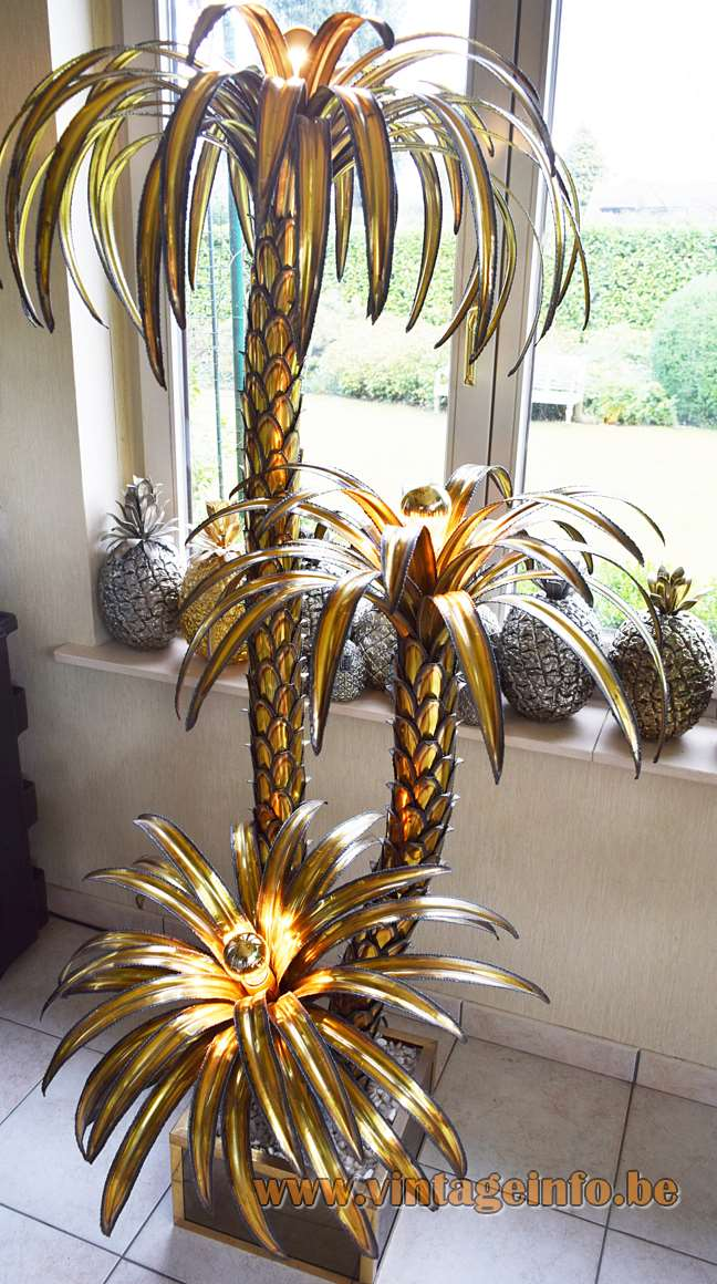 Maison Jansen palm trees floor lamp burned brass leaves square brass base pebbles 1970s 1980s France