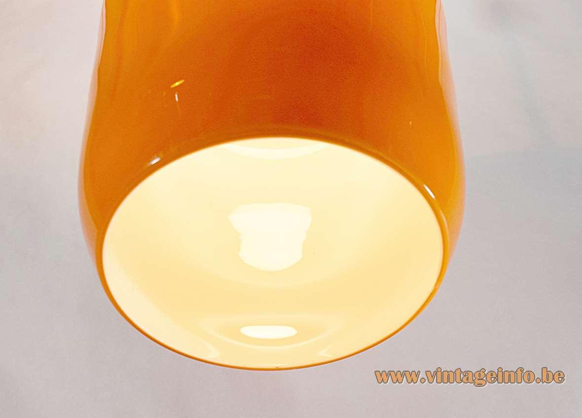 Massimo Vignelli Venini pendant lamp elongated design hand blown orange Murano glass 1950s 1960s Italy