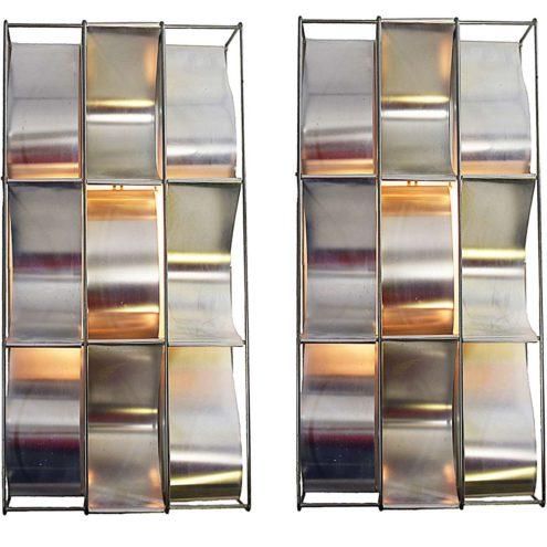 Max Sauze wall lamps Alpha 1970s design rectangular aluminium slats lampshades metal wire frame E14 sockets