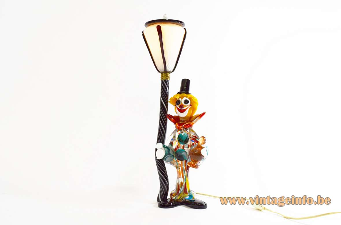 Murano drunk clown table lamp hand blown colourfull glass figure street lamp post 1950s 1960s Italy