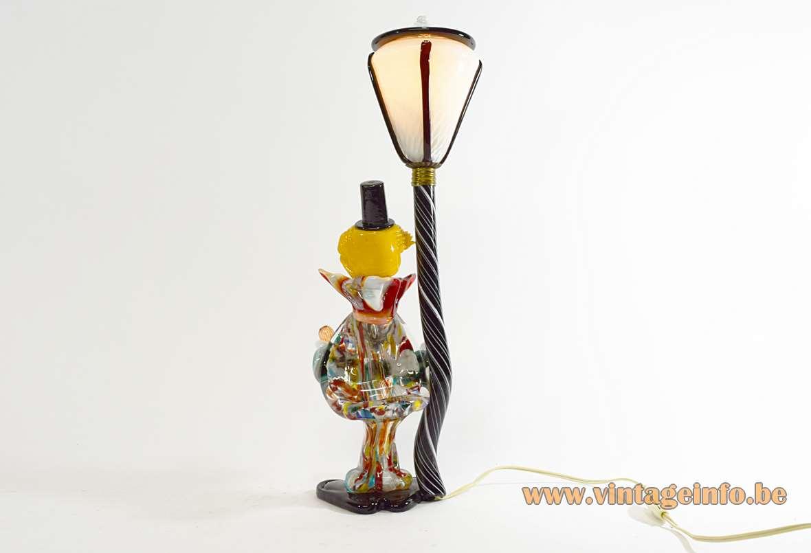 Murano Drunk Clown Table Lamp hand blown colourfull glass lamp post 1950s 1960s MCM Joska