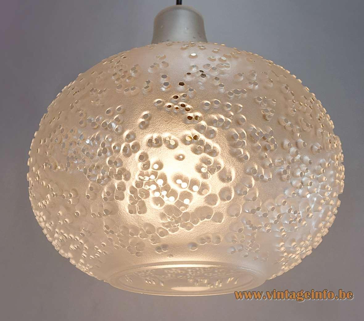 Peill + Putzler Patmos Pendant Lamp Horst Tüselmann clear frosted glass dots spots 1960s 1970s Mid-Century Modern MCM