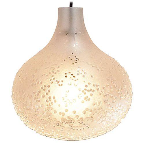 Peill + Putzler Patmos pendant lamp design: Horst Tüselman clear frosted glass onion globe dots 1960s 1970s