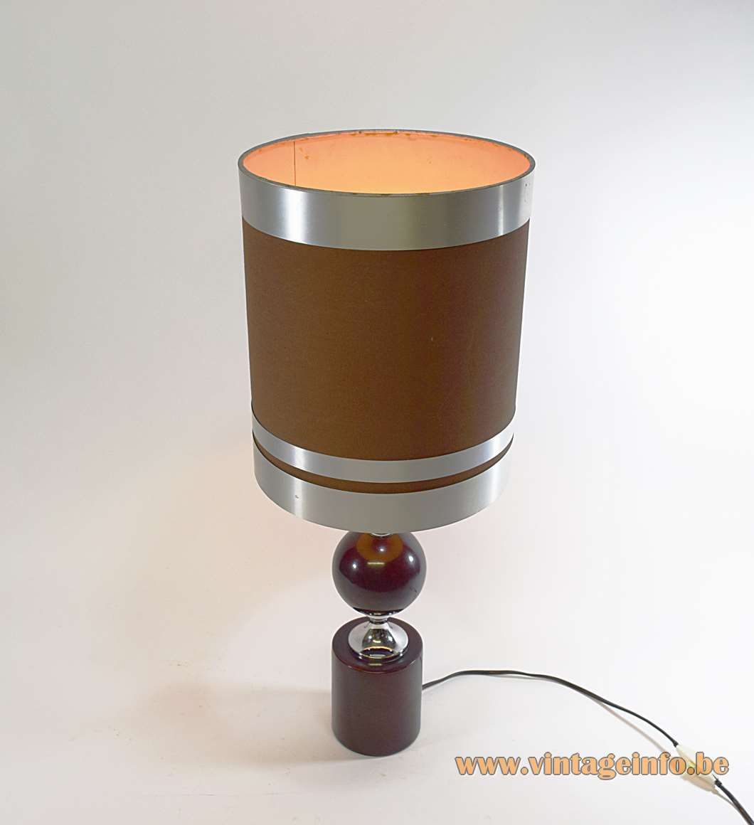 Philippe Barbier Aubergine Table Lamp eggplant round base globe metal chrome Maison Paris 1960s 1970s MCM