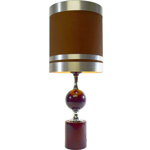 Philippe Barbier aubergine table lamp round metal base chrome globe tubular fabric lampshade 1960s 1970s France
