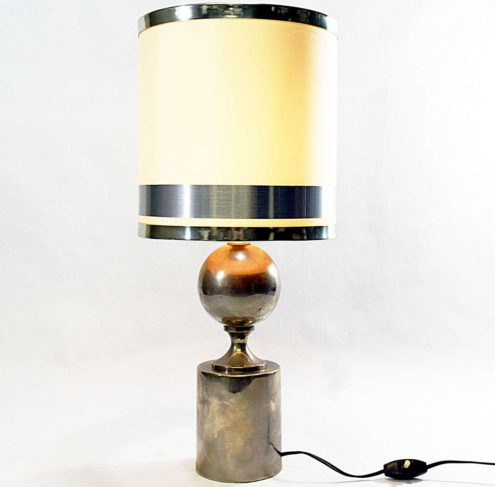 Philippe Barbier Aubergine Table Lamp - Philippe Barbier Nickel-plated Table Lamp