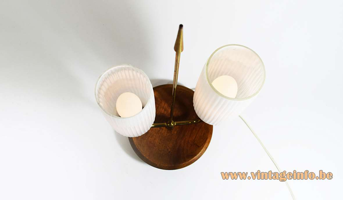 Philips table lamp ribbed opal glass brass arrow and base with wood 2 E14 sockets 1950s 1960s MCM Mid-Century Modern