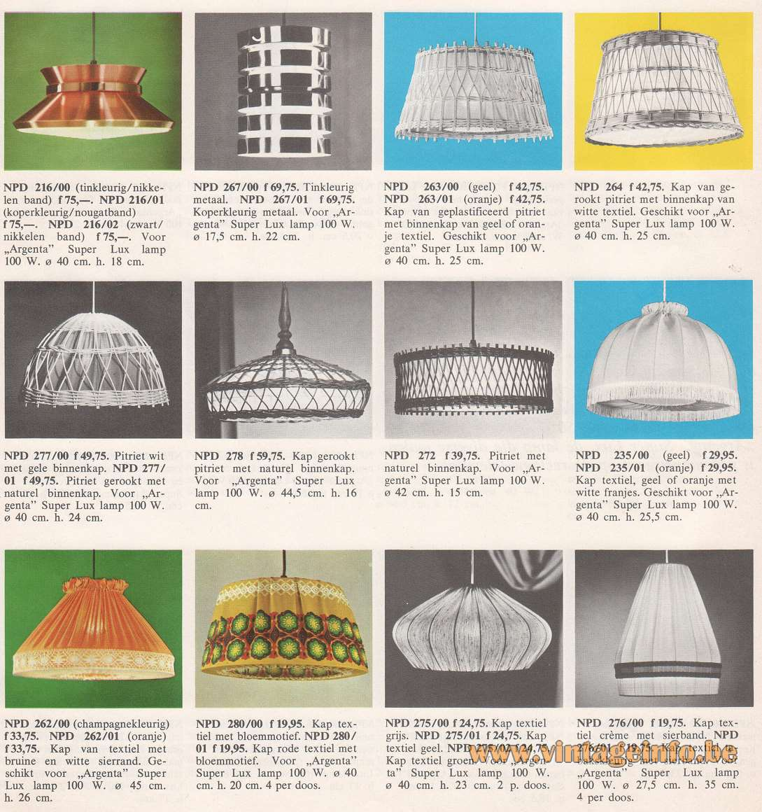 Philips Jute and wood pendant lamps - catalogue 1968