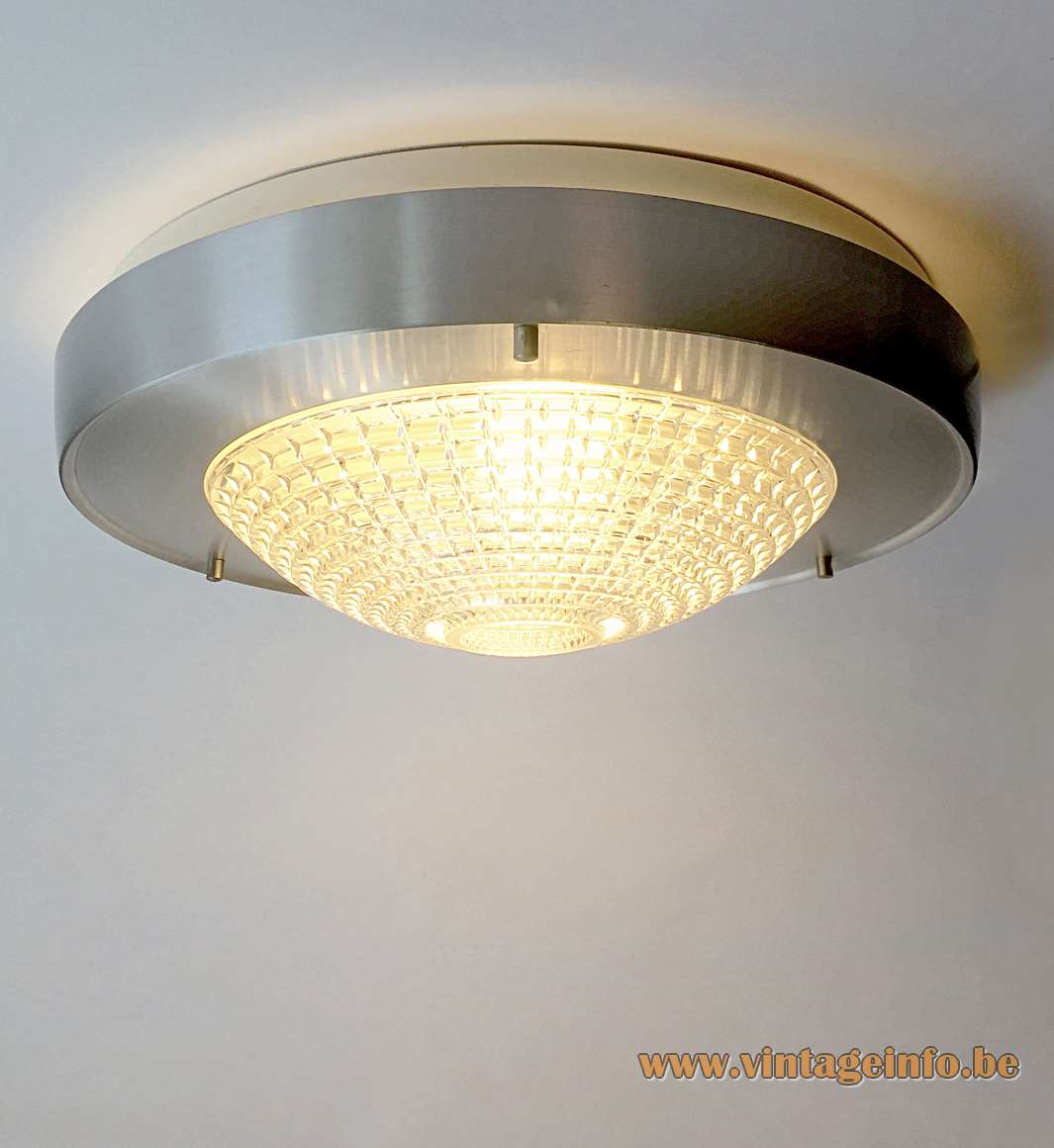 Raak flush mount B-1043 clear pressed embossed glass lampshade aluminium ring 1960s 1970s The Netherlands
