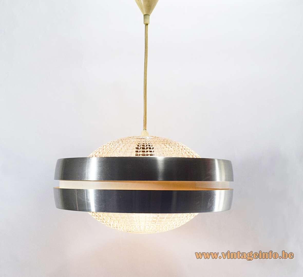 Raak B-1044 Pendant Lamp pressed clear embossed glass aluminium UFO 1960s 1970s