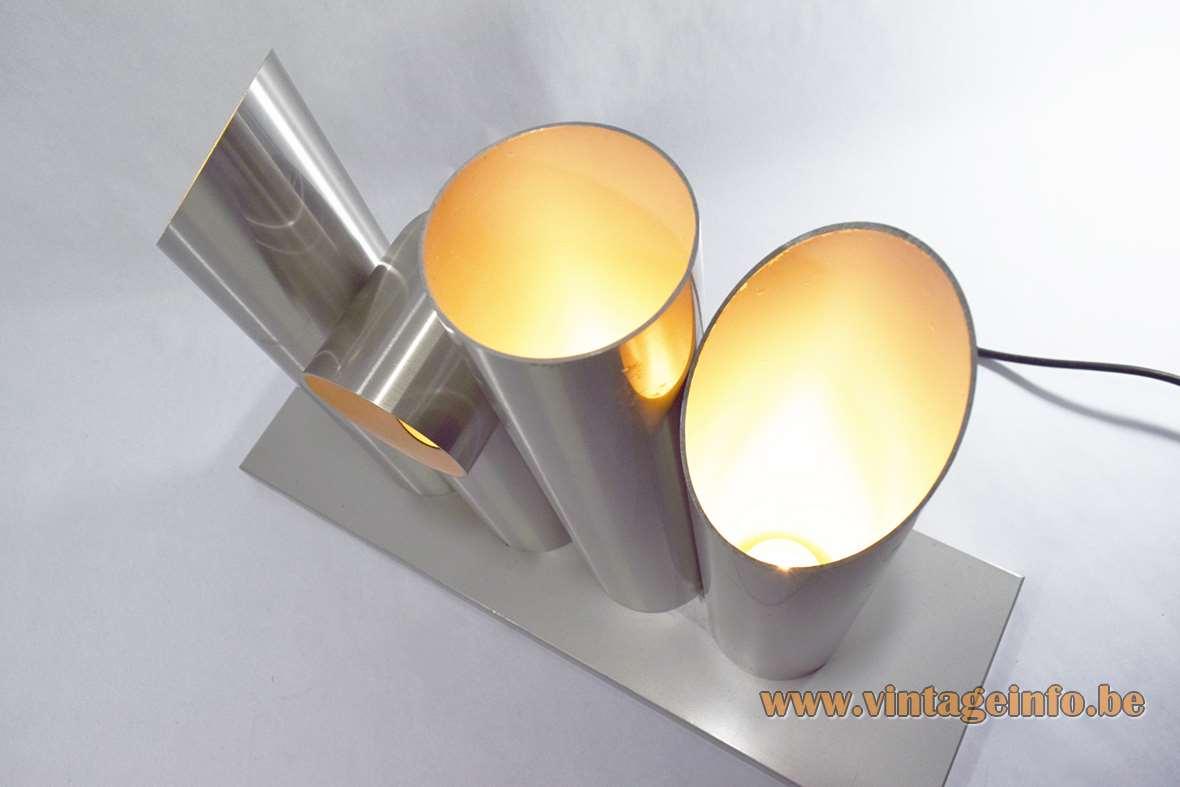 Raak table lamp Lichtsculptuur floor lamp designer Maurice Grothausen 1960s 4 brushed aluminium tubes D-2079 1970s MCM Mid-Century Modern
